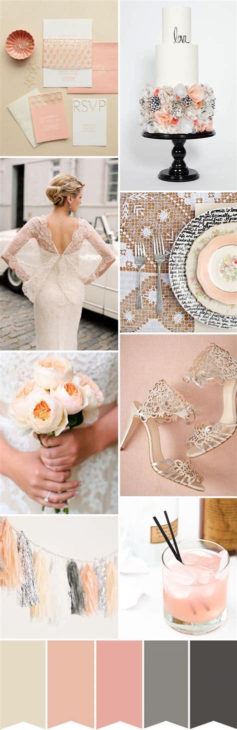 Peach, Cream and Grey Wedding Colour Palette   OneFabDay.com