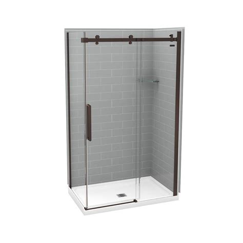 Direct Shower Door Reviews Utile By Maax 32 In X 48 In X 83 5 In Direct To Stud Corner Shower Kit In Metro Ash Grey With