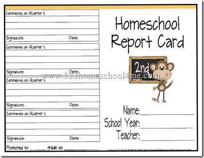 homeschool 1st grade report card template free homeschool report cards homeschool report cards
