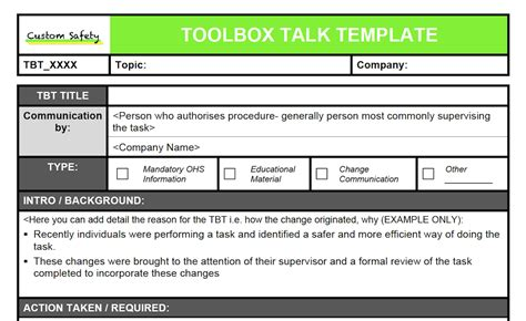 tool box talks template toolbox talk template