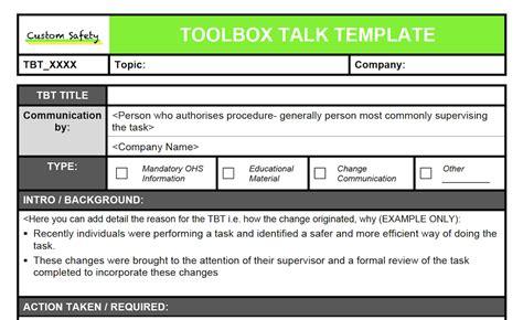 tool box talks template toolbox talk template