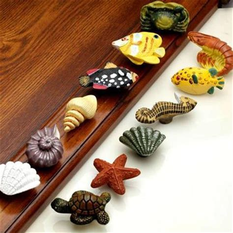 fish drawer pulls cabelas 2017 ocean turtle shell fish resin handle knobs