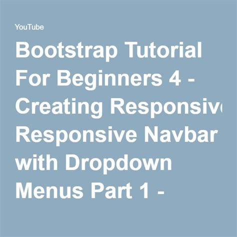 bootstrap tutorial in urdu youtube 25 best ideas about bootstrap dropdown on pinterest