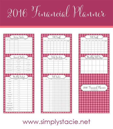 free printable planner set free 2016 financial planning printables finance set of