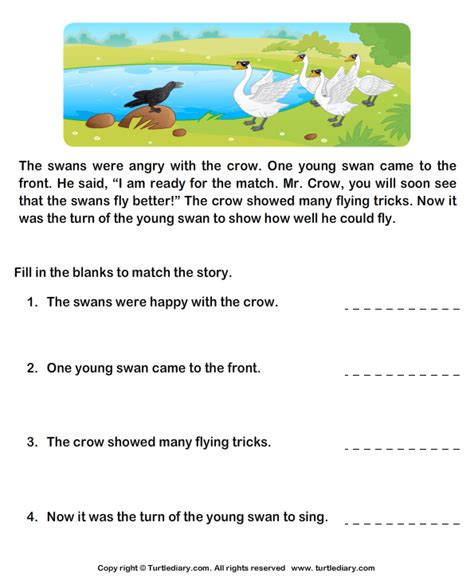 reading comprehension and swans worksheet turtle diary