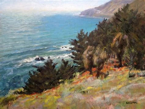 Landscape Sea Point Sea And Pines Near Ragged Point California Painting By