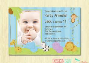 1st birthday invitation card for baby birthday boy invitation baby jungle by designbugstudio
