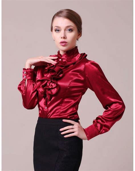 Collar Dress Midi Black Greybaju Blouse Wanita 450 besten frilly satin bilder auf blusen