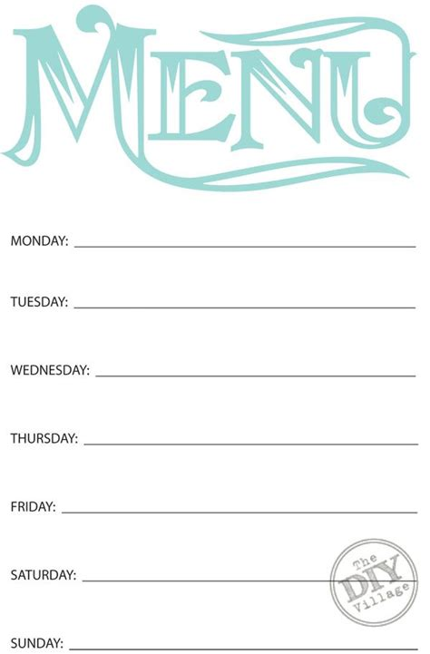 templates for menu free printable weekly menu planner weekly menu planners