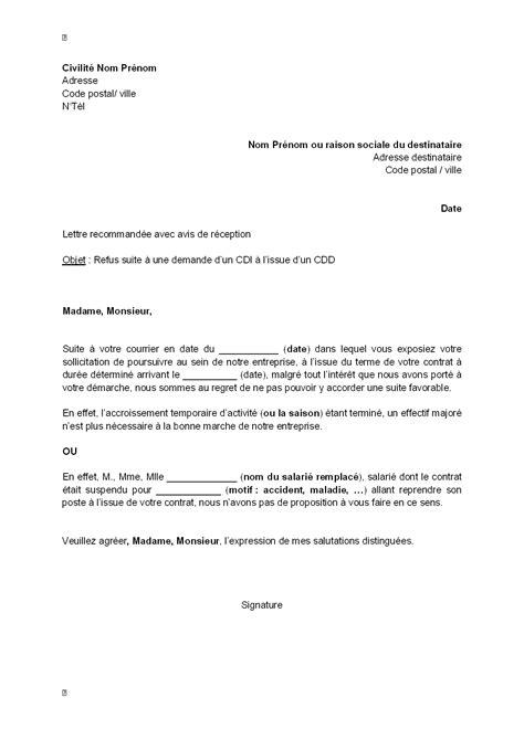 lettre d offre de service gratuit lettre de refus d offre d un cdi par l employeur 224 l issue d un cdd mod 232 le de lettre gratuit