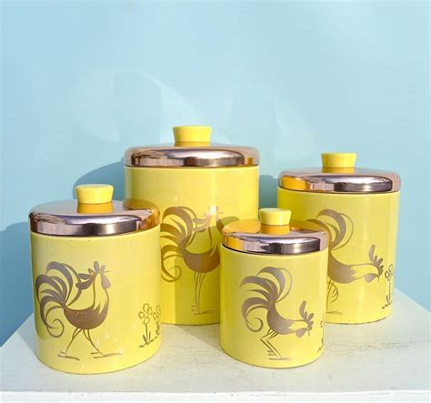 rooster canisters kitchen products vintage ransburg yellow rooster canister set