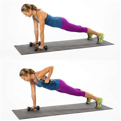 plank excercises how to do plank with row back exercise popsugar fitness uk