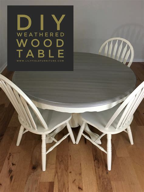 diy weathered wood table    giveaway lily