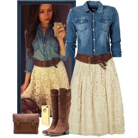 hairstyle on western long skirt images a fashion look from february 2014 featuring replay blouses