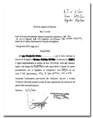 decreto ingiuntivo pagamento parziale studio legale quando la corte di appello pronuncia decreto ingiuntivo di