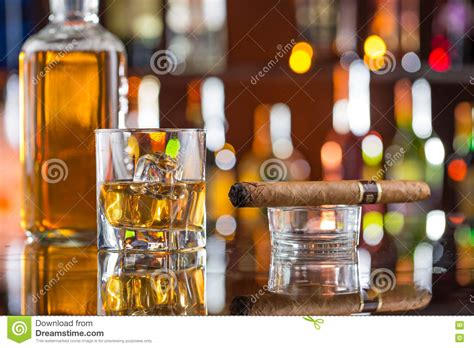 Drinks Bar Counter Whiskey Drinks On Bar Counter Stock Photo Image 70770884