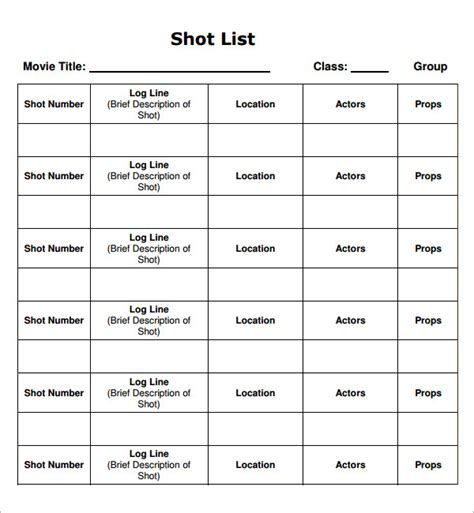28 movie shot list template shot list template