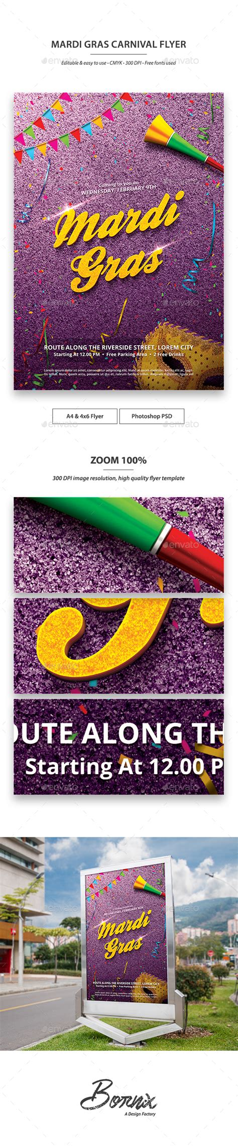 Mardi Gras Carnival Flyer Template By Bornx Graphicriver Mardi Gras Powerpoint Template Free