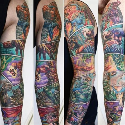 marvel sleeve tattoo designs 60 marvel tattoos for comic design ideas