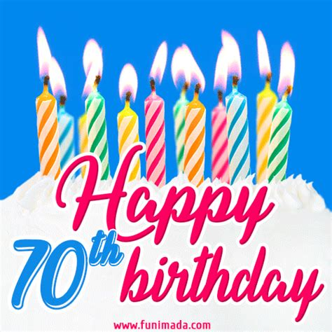 animated happy  birthday card  cake  lit candles   funimadacom