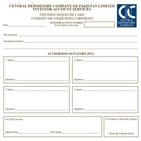 signature card template authorised signatory