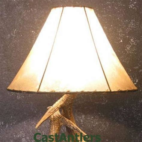 Rawhide Chandelier Lamp Shades Rustic Amp Antler Lamps Cast Whitetail 3 Antler Table Lamp