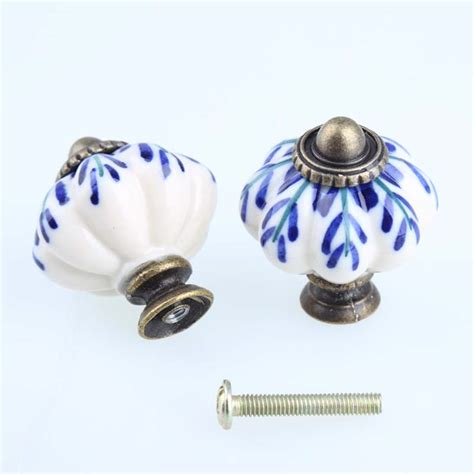 porcelain knobs for kitchen cabinets 33mm white and blue porcelain drawer cabinet knobs pulls