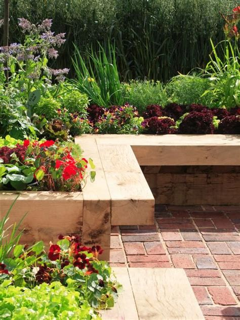 raised garden bed with bench seating 70 best garden deck landscaping images on pinterest decks outdoor gardens and