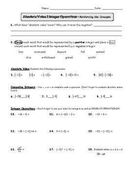 absolute value and integers review worksheet by pre