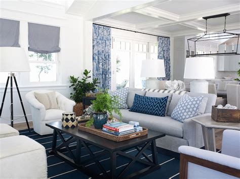 coastal livingroom white and blue coastal living room design ideas