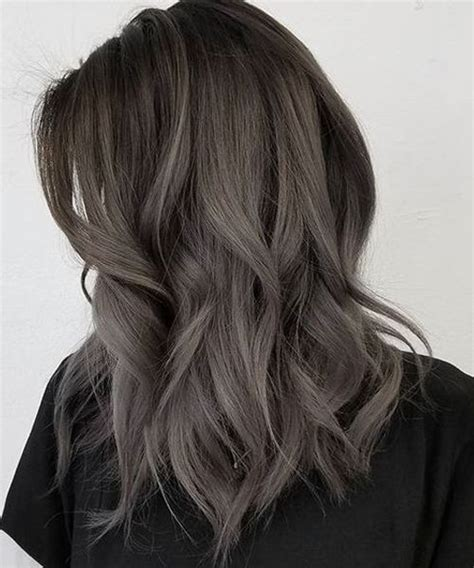 whight gray higlights hair styles fabulous layered dark grey hairstyles 2018 for women