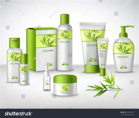 Bamboo Herbal bamboo herbal cosmetic products different stock illustration 310363673