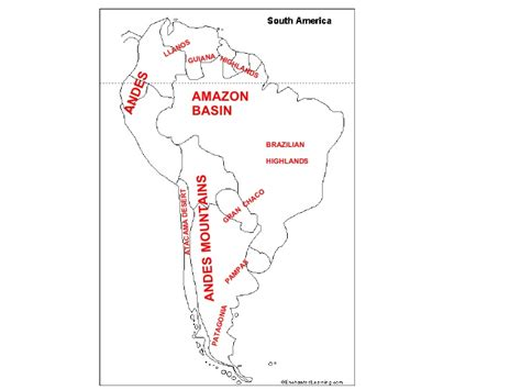 south america map answers south america landforms power pointand worksheet