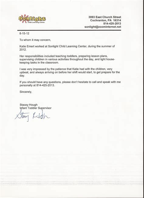 recommendation letter for a kindergarten student best
