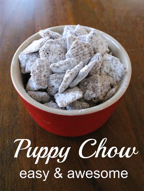 crispix puppy chow puppy chow a chocolate peanut buttery sweet treat momcrieff