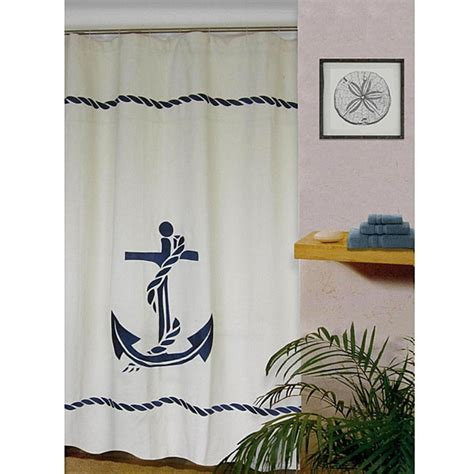 nautical shower curtains nautical anchor linen blend shower curtain 12617805