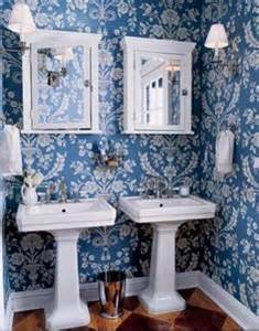 Classic royal blue amp white wallpaper is accented with double white