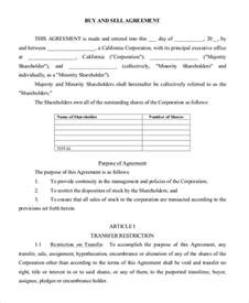 business buy sell agreement template sle buy sell agreement form 8 free documents in pdf
