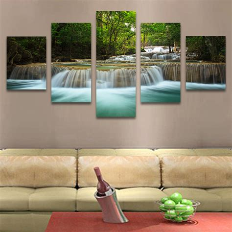 living room canvas no frame 5 pcs waterfall painting canvas wall art picture