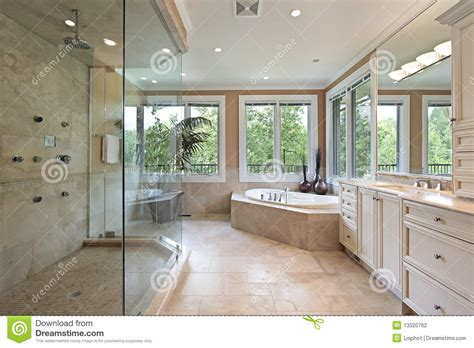 Large Master Bathroom Floor Plans Master Bath With Large Glass Shower Stock Photo Image