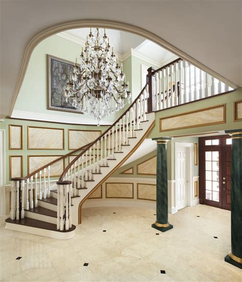 New Stair Banister Gorgeous Foyer Chandeliers Trend New York Traditional
