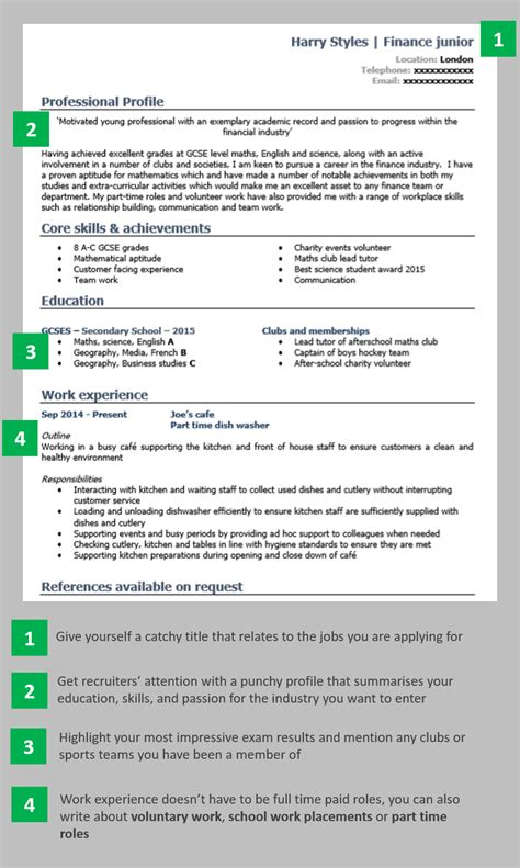cv template for school leaver with no work experience school leaver cv exle create a winning cv with no experience