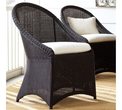 black wicker dining chairs palmetto all weather wicker dining chair black pottery