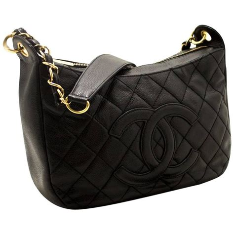 chanel caviar chain one shoulder bag black quilted leather