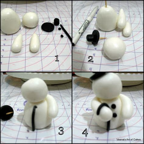 fondant christmas trees and snowman tutorial by veena s
