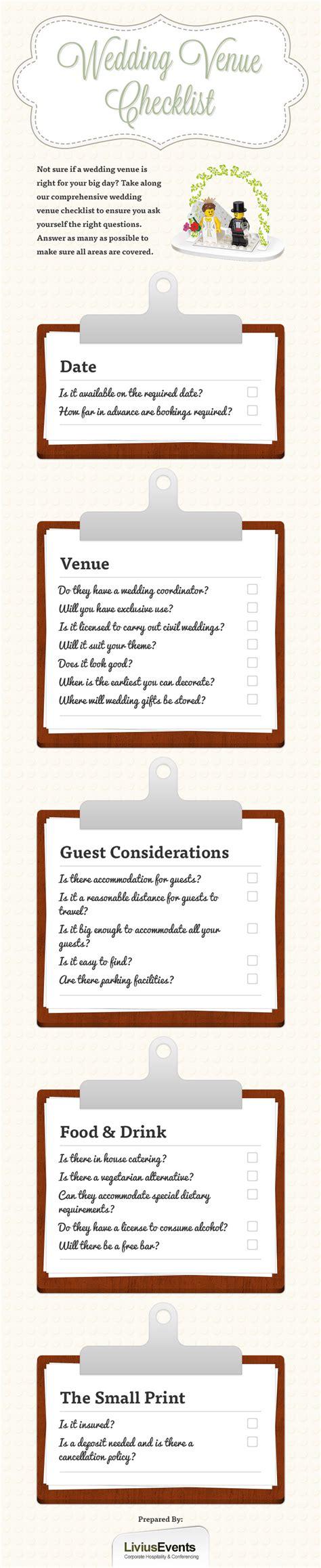 Wedding Checklist Venue by Wedding Venue Checklist Visual Ly
