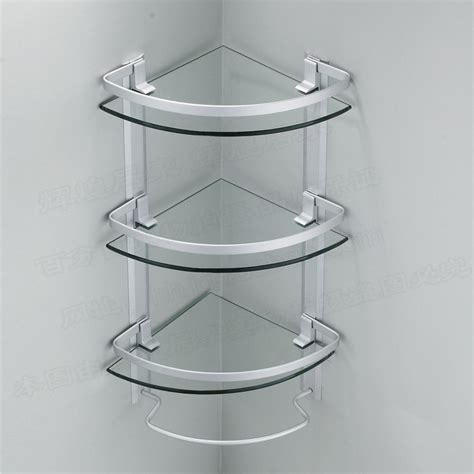 Glass Bathroom Corner Shelves Aluminum 3 Tier Glass Shelf Shower Holder Bathroom Accessories Corner Shelves For Storage Wall