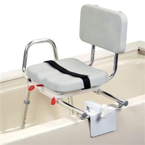 sliding transfer bench with swivel seat snap n save padded heavy duty sliding transfer bench with swivel seat tub mounts