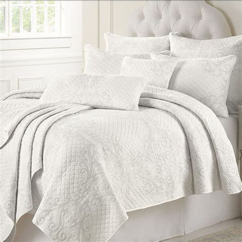 Quilting Bed Cover Set fashion white embroidered cotton quilting bed cover set