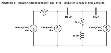 inductor in phasor domain determine il inductor current in phasor and vl t chegg